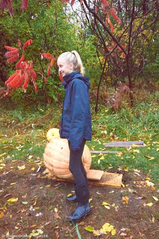 Sophie Hamdan and her prize-winning 100lb pumpkin
